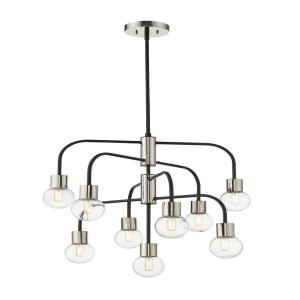 9-Light Matte Black and Polished Nickel Chandelier with Clear Glass Shade