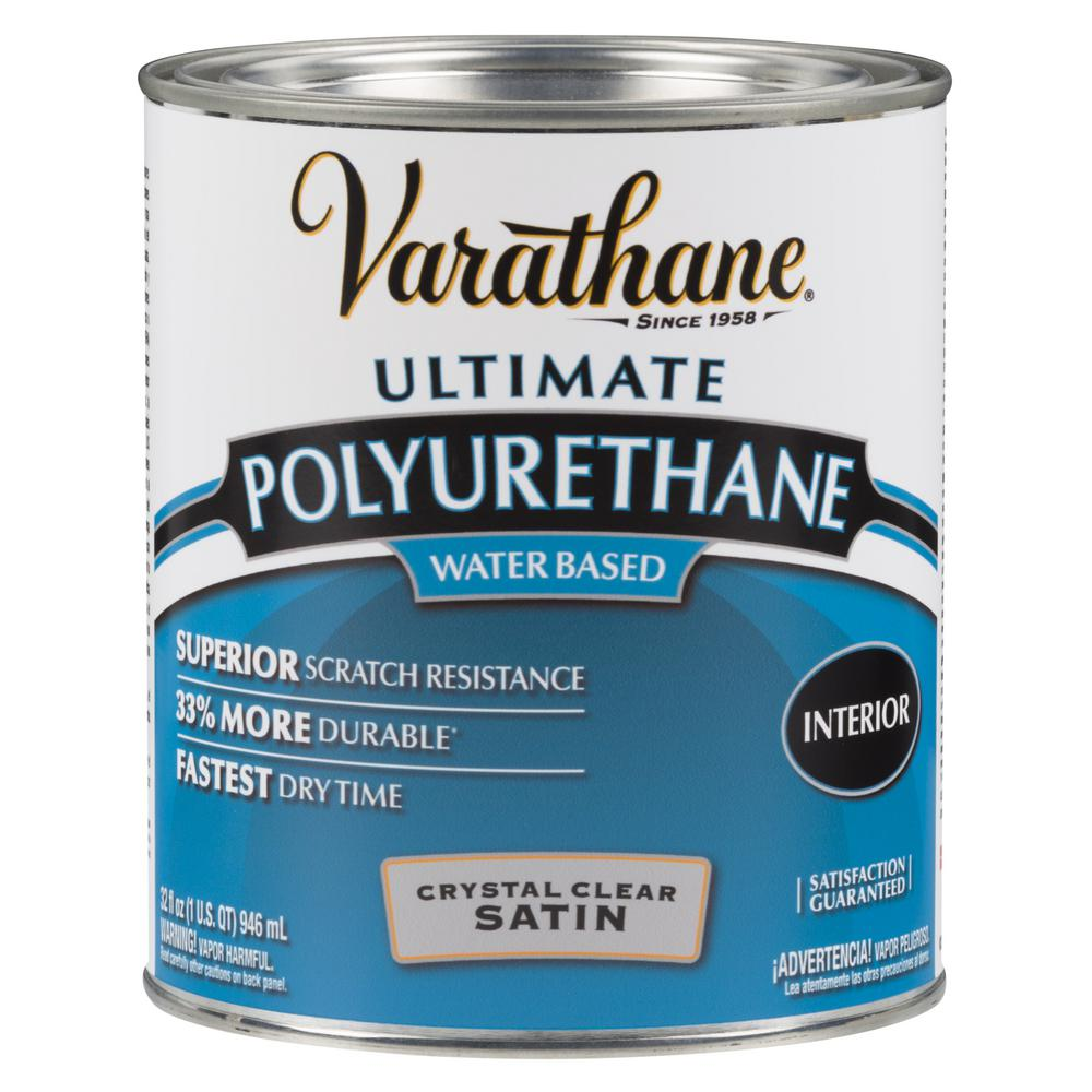 Varathane 1 qt. Clear Satin Water-Based Interior Polyurethane (2-Pack)