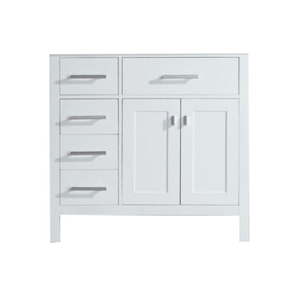Design Element London 35 5 In W X 21 5 In D Vanity Cabinet Only In White With Left Drawer