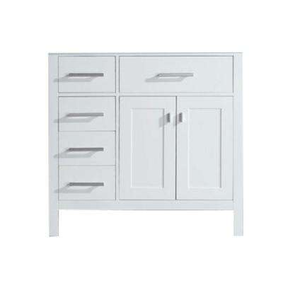 London 35.5 in. W x 21.5 in. D Vanity Cabinet Only in White with Left Drawer