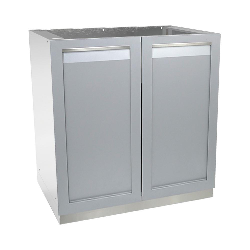 4 life outdoor stainless steel assembled 32x35x24 in outdoor kitchen base cabinet with 2 full for Tall stainless steel bathroom cabinet