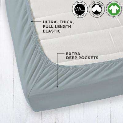 Organic Cotton Wrinkle Resistant Light Blue Queen Fitted Sheet Extra Deep Pockets