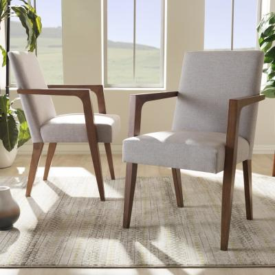 Andrea Beige Fabric Upholstered Arm Chairs (Set of 2)