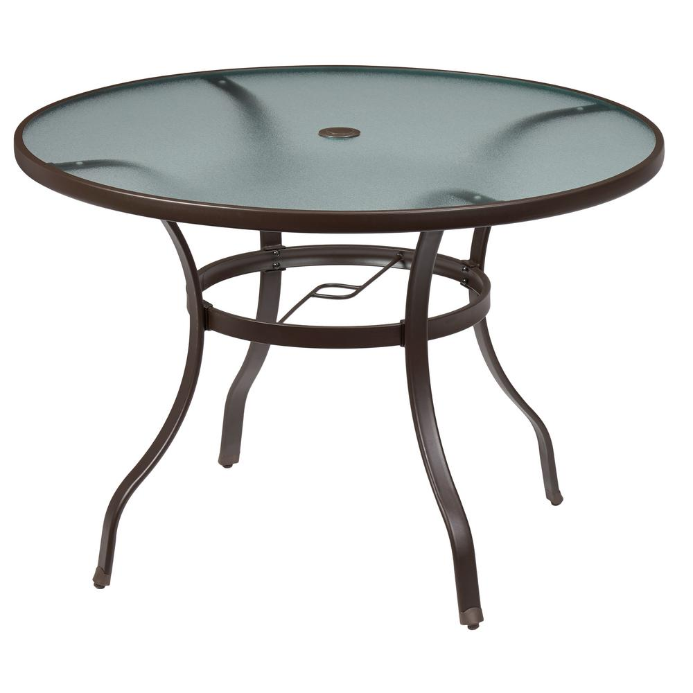hampton bay mix and match round metal outdoor dining table fts70575 the home depot. Black Bedroom Furniture Sets. Home Design Ideas