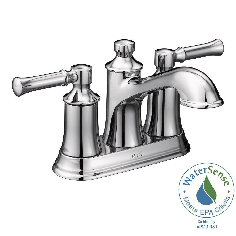 MOEN Adler 4 in. Centerset 2-Handle Bathroom Faucet in Chrome-84603 ...