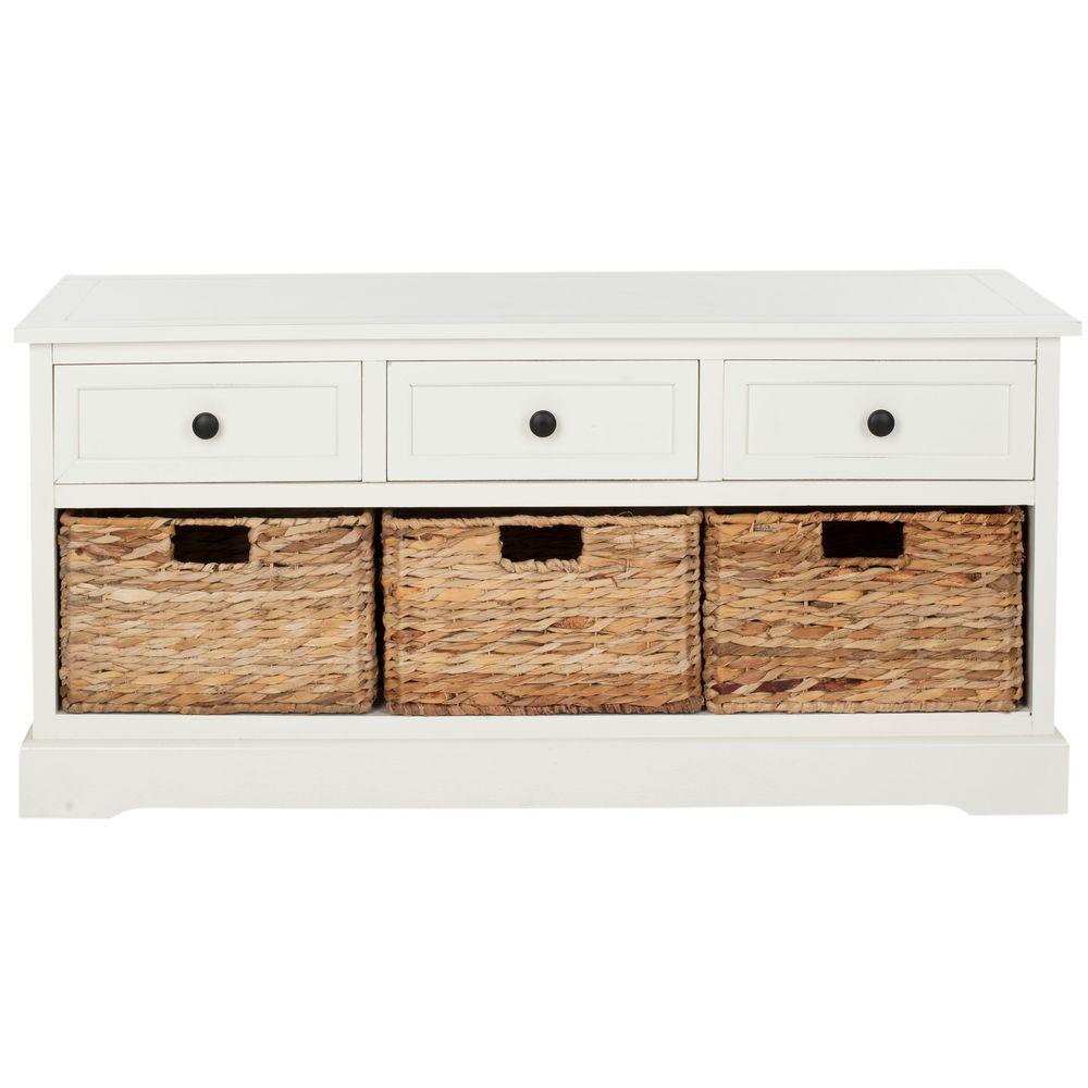 Safavieh Damien 3-Drawer Wood Storage Unit in Distressed Cream AMH5701C