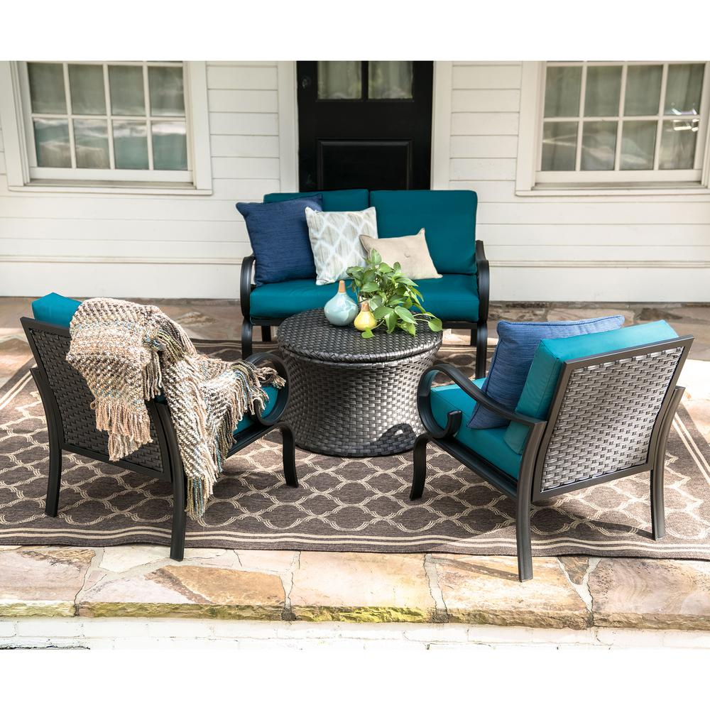 Leisure Made Savannah 4 Piece Wicker Patio Conversation Set With Peacock  Cushions