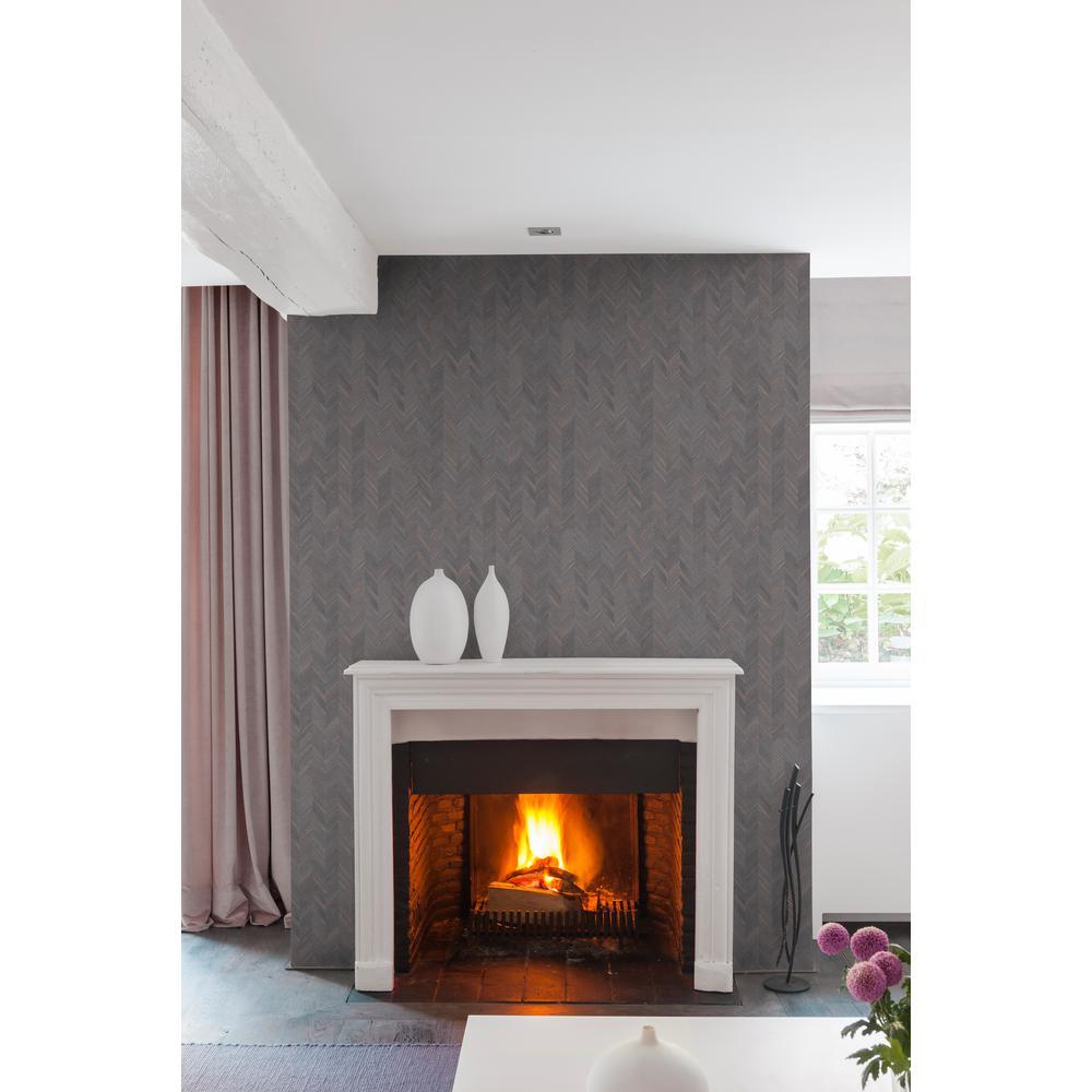 Copper Herringbone Wallpaper