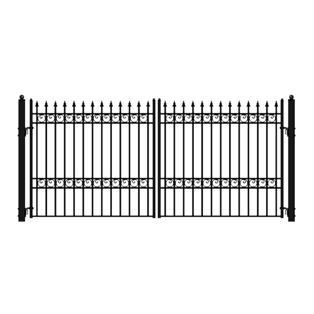 Oslo Style 18 ft. x 6 ft. Black Steel Dual Swing Driveway Fence Gate