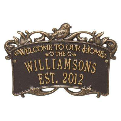 Songbird Welcome Rectangular Standard 2-Line Wall Anniversary Personalized Plaque in Bronze/Gold