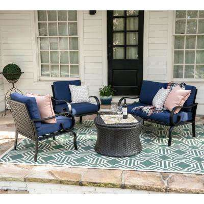 Savannah 4-Piece Wicker Patio Conversation Set with Navy Cushions