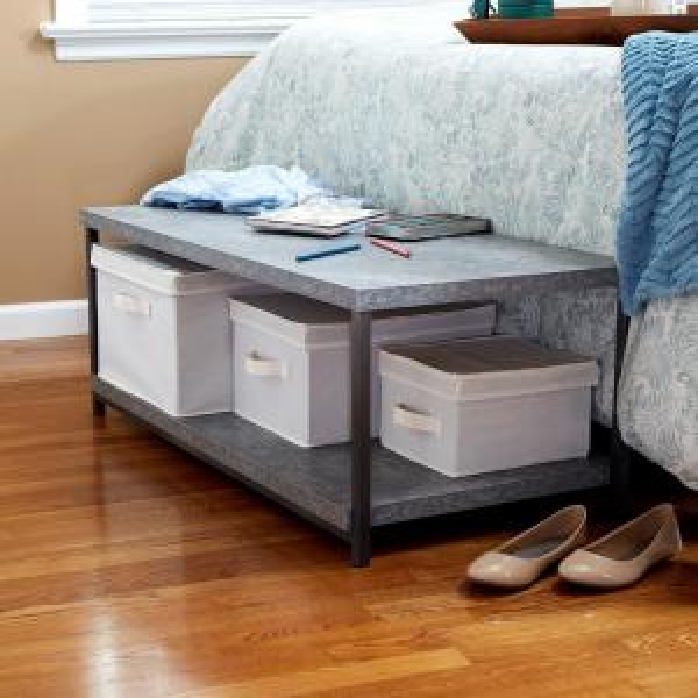 Gray Slate Faux Concrete Coffee Table with Storage Shelf