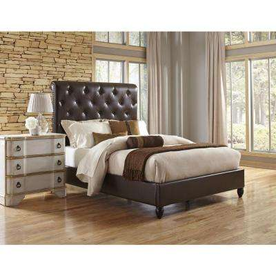 All-in-1 Brown Queen Sleigh Bed