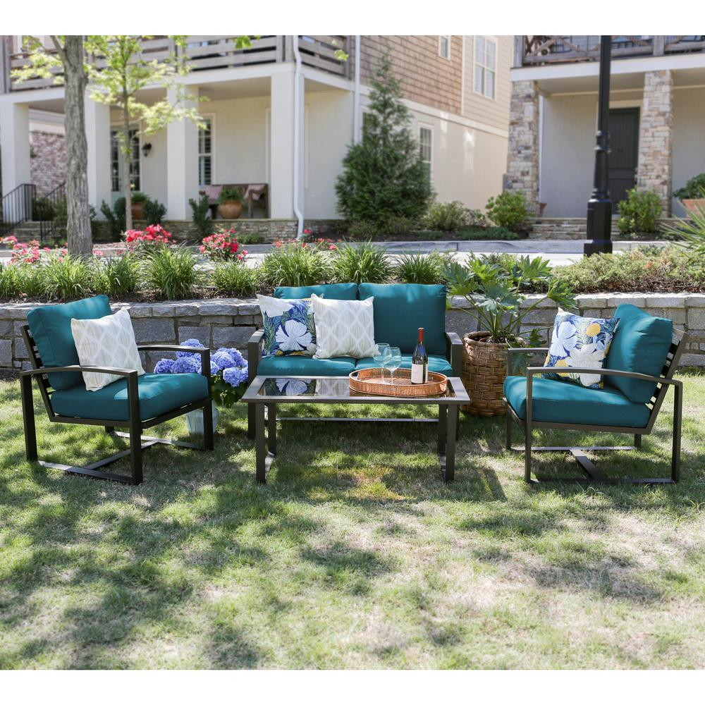 Leisure Made Jasper 4-Piece Aluminum Patio Conversation Set with Peacock Cushions