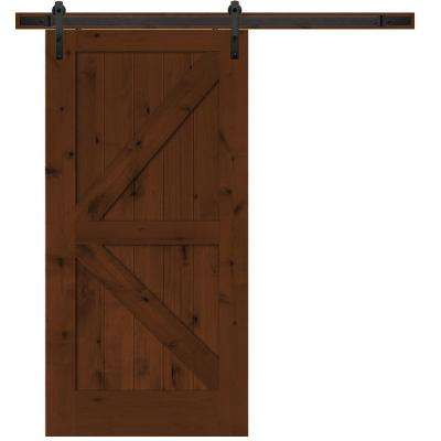 Rustic 2 Panel Stained Knotty Alder Interior Barn Door