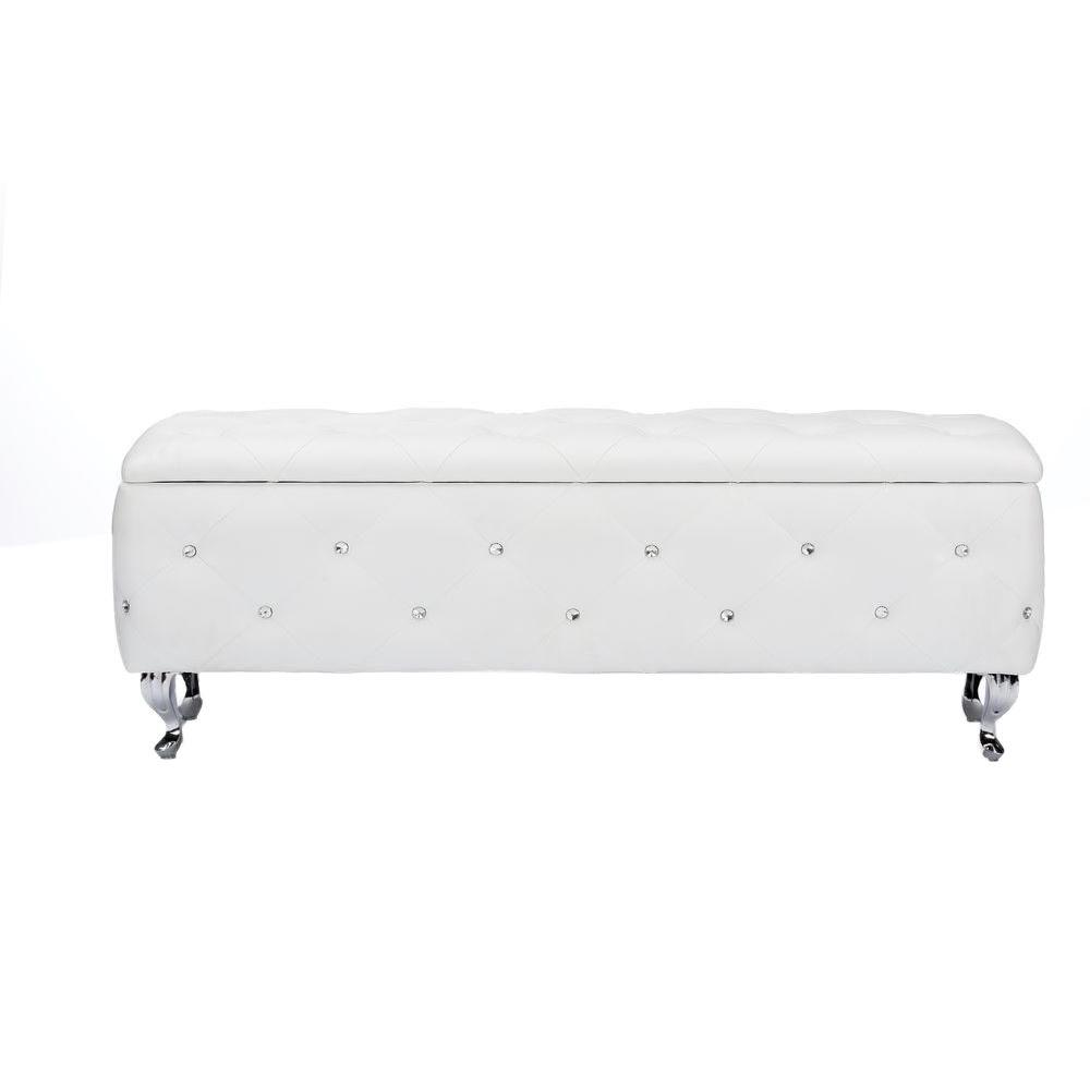 Stella Glam White Faux Leather Upholstered Storage Ottoman