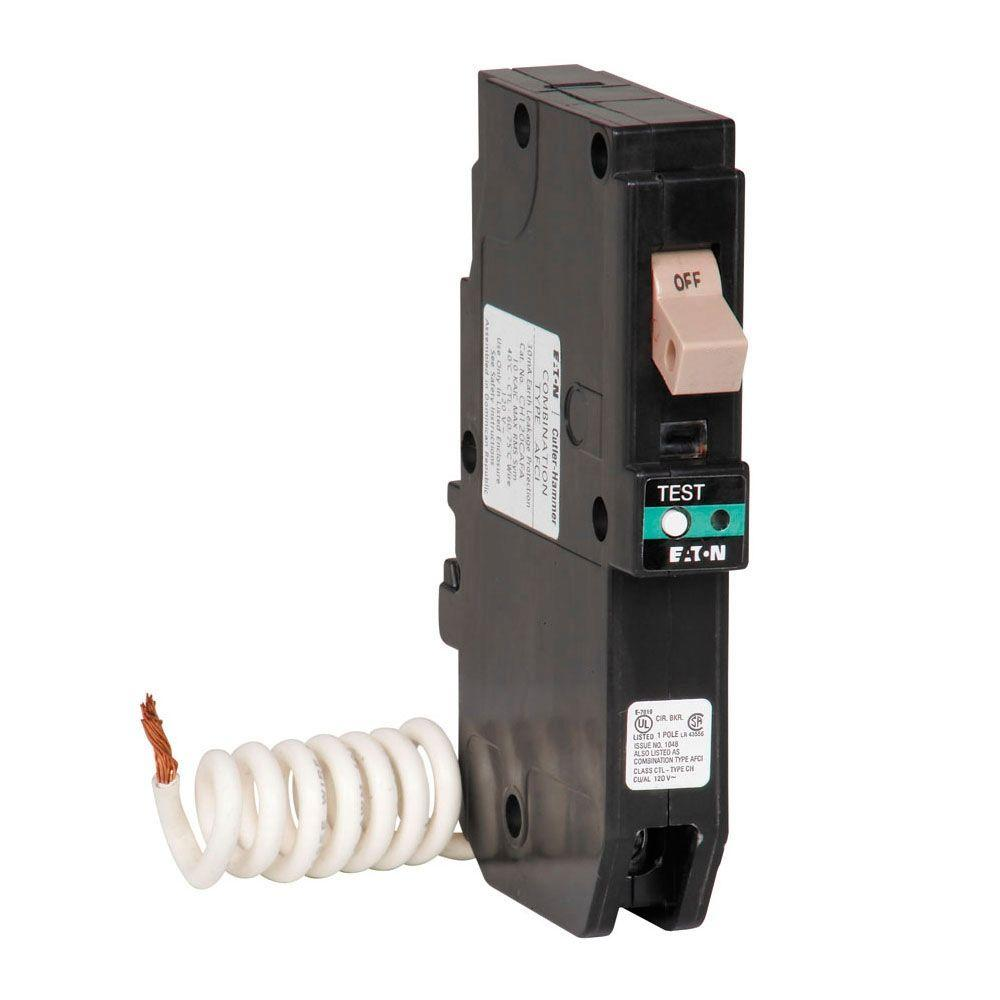 Eaton Ch 15 Amp 1 Pole Combination Arc Fault Circuit Breaker With Wiring Diagram Trip Flag