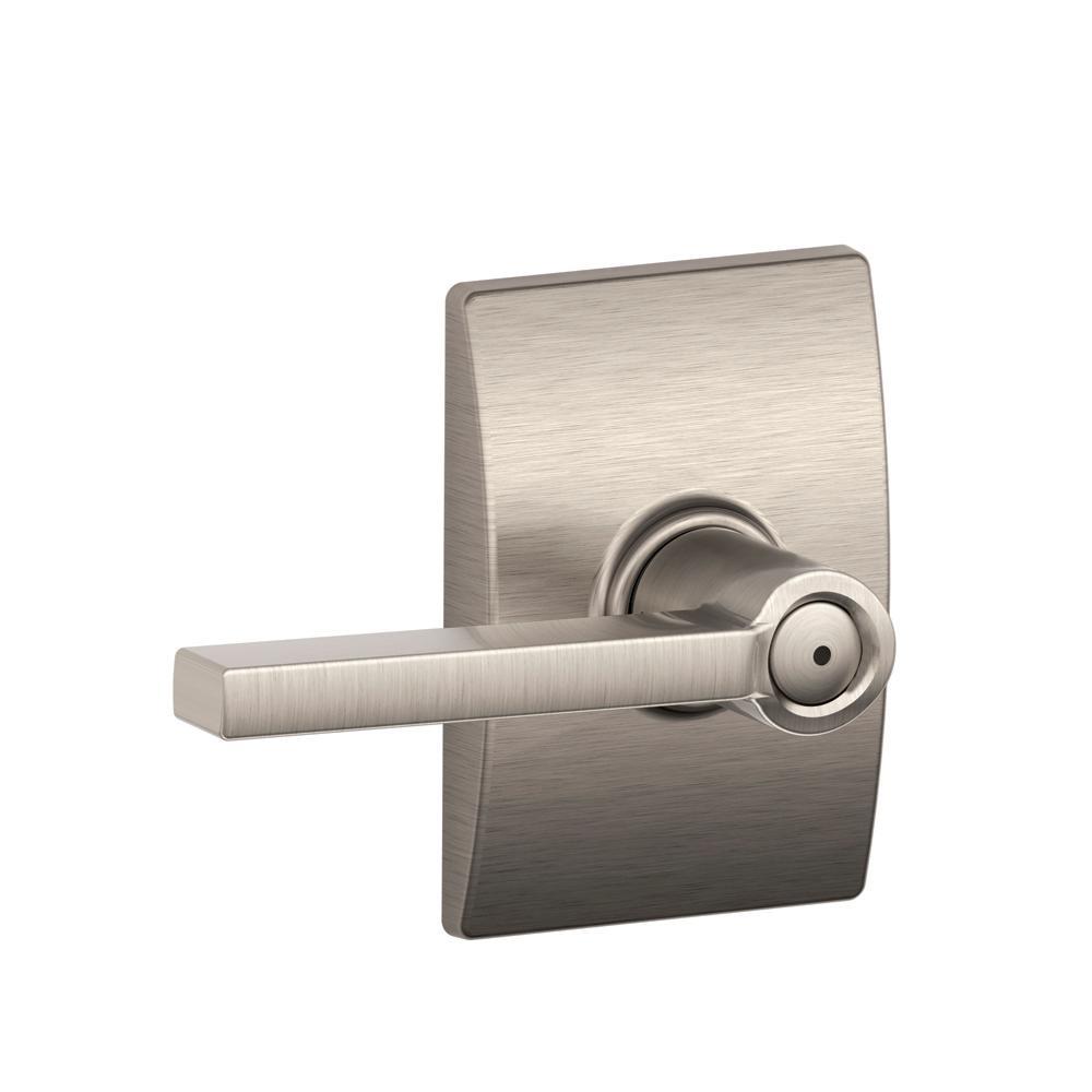 Latitude Satin Nickel Privacy Bed/Bath Door Lever with Century Trim
