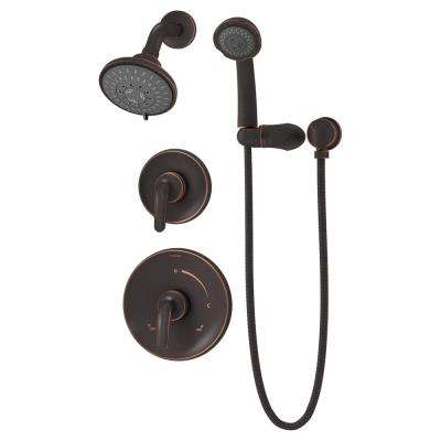 Elm 1-Handle Wall Mounted Shower Trim Kit in Seasoned Bronze with Hand Shower (Valve Not Included)