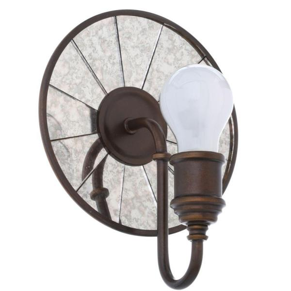 Urban Renewal 7.75 in. W x 9.75 in. H 1-Light Astral Bronze Round Wall Sconce with Distressed Mirror Backplate Detail