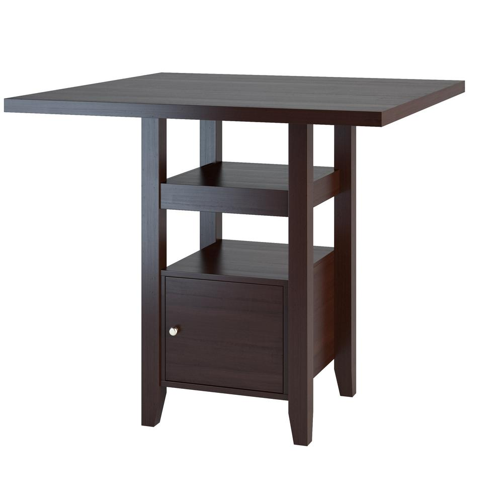 Counter Height Kitchen Table With Bench In Preferential: CorLiving Bistro Cappuccino Counter Height Dining Table