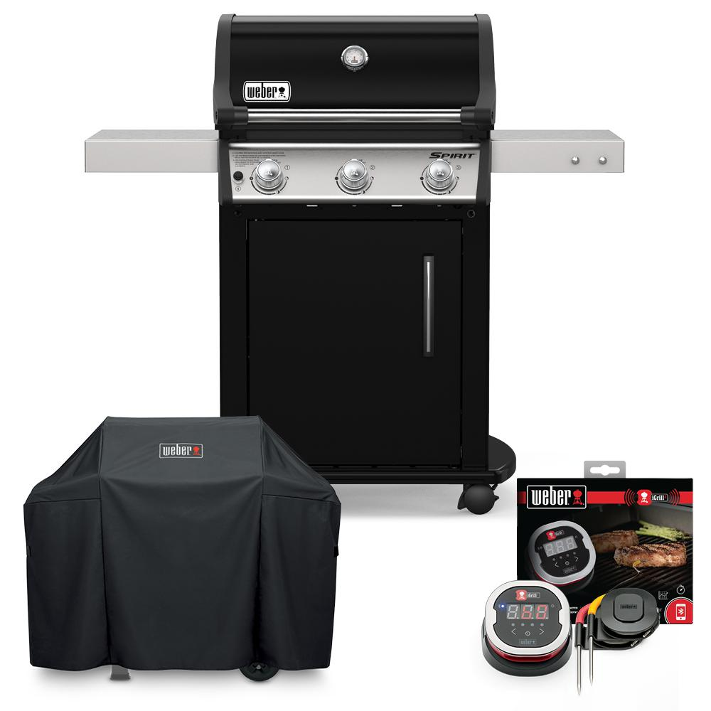 Weber Spirit E-315 Liquid Propane Gas Grill Combo with Cover and iGrill 2