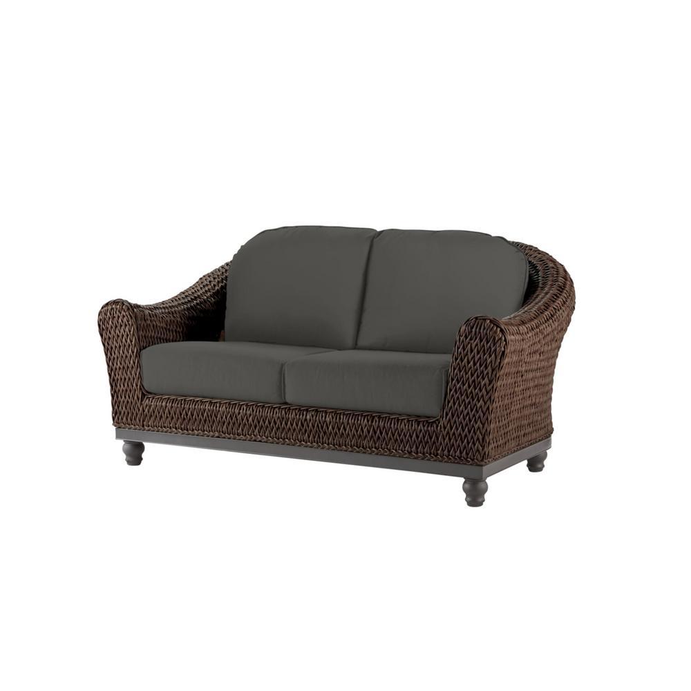Camden Dark Brown Wicker Outdoor Patio Loveseat with CushionGuard Graphite Dark Gray Cushions