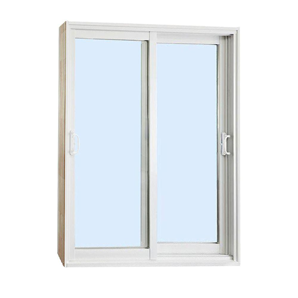 Stanley doors 60 in x 80 in double sliding patio door for Outdoor sliding doors