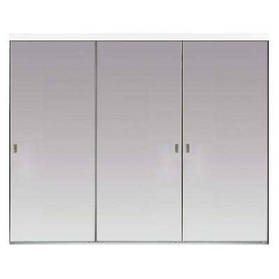 108 in. x 80 in. Polished Edge Backed Mirror Aluminum Frame Interior Closet Sliding Door with White Trim