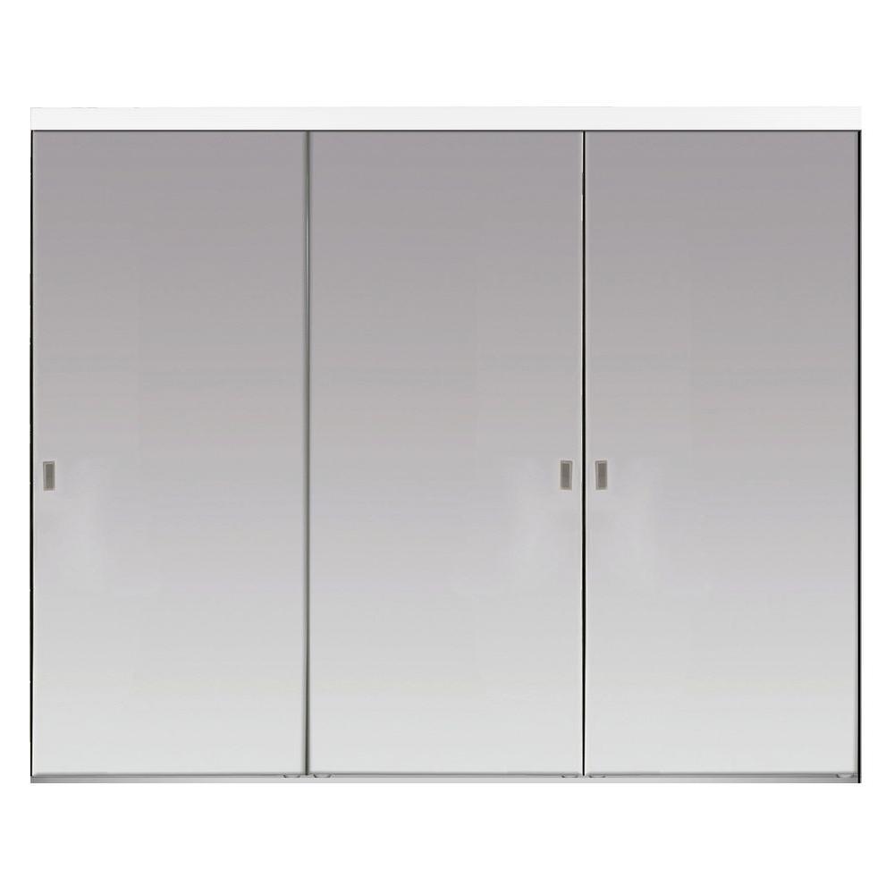 144 in. x 96 in. Beveled Edge Backed Mirror Aluminum Frame Interior Closet Sliding Door with White Trim