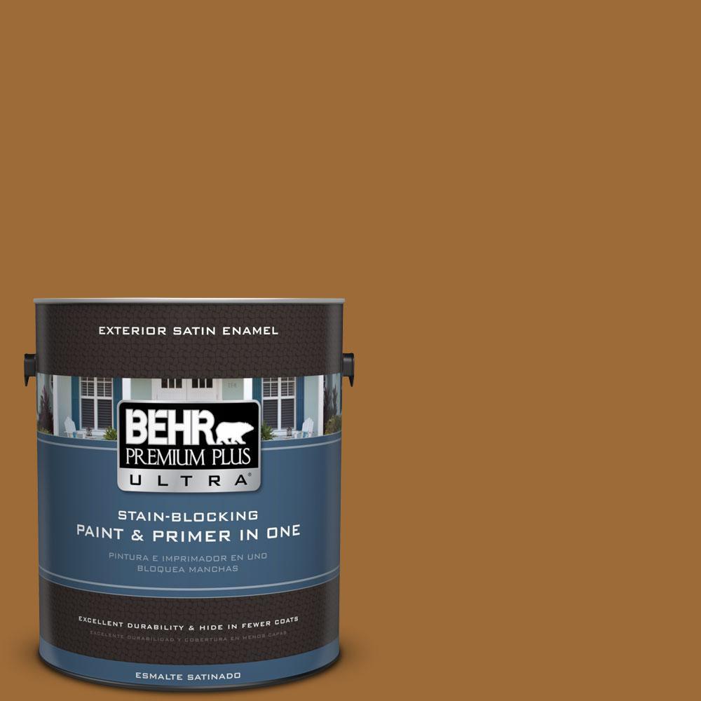 BEHR Premium Plus Ultra 1-gal. #PPU6-1 Curry Powder Satin Enamel Exterior Paint