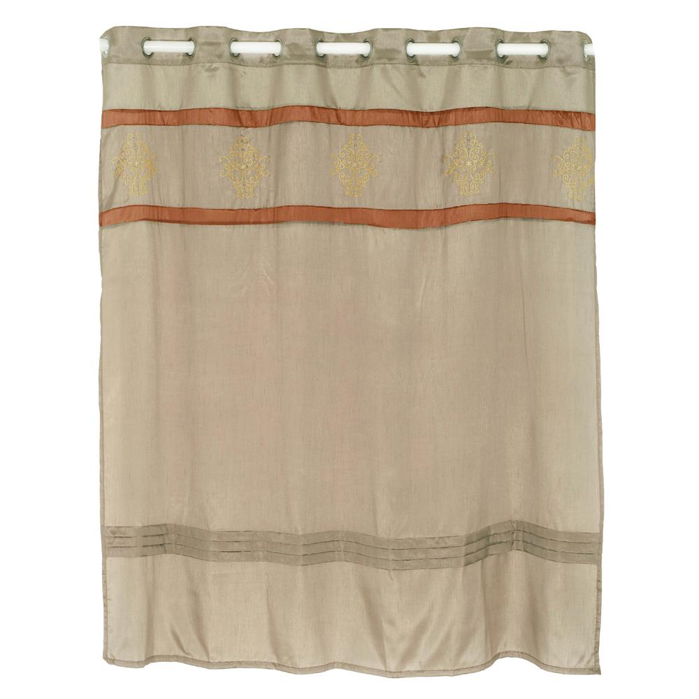 Radcliff Embroidered Taupe Shower Curtain