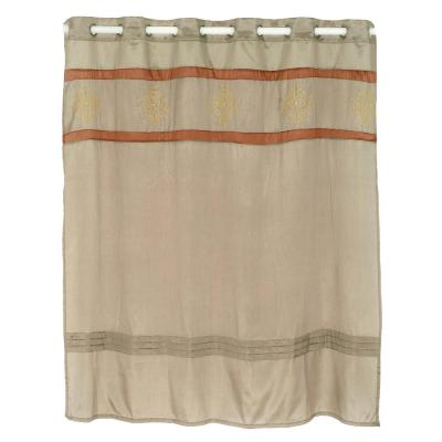 72 in. Radcliff Embroidered Taupe Shower Curtain