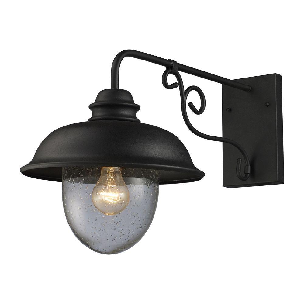 Titan Lighting Streetside Cafe 1-Light Matte Black Outdoor Wall ...