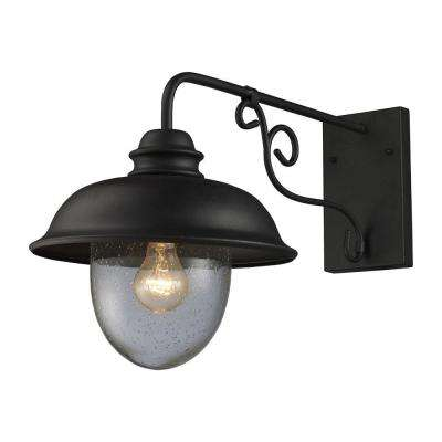Streetside Cafe 1-Light Matte Black Outdoor Wall Mount Sconce