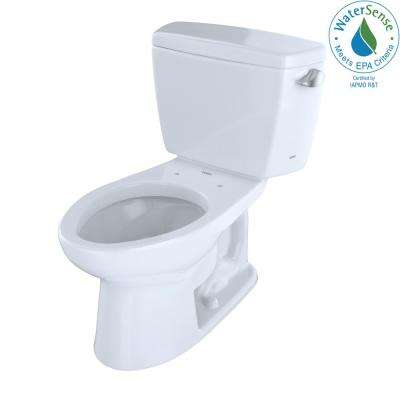 Eco Drake Transitional 2-Piece 1.28GPF Single Flush Elongated Toilet with 10in. Rough-In and Right Lever in Cotton White