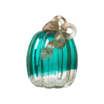 5.51 in. H Pumpkin Turquoise Crackle Glass