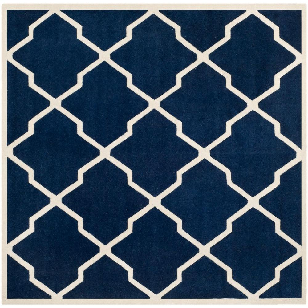 Safavieh Chatham Dark Blue Ivory 9 Ft X 9 Ft Square Area