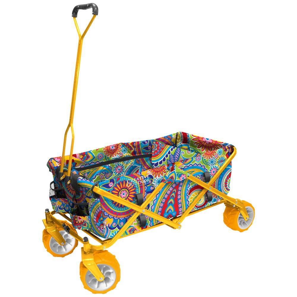 7 cu. ft. Folding Garden Wagon Carts in Paisley/Yellow