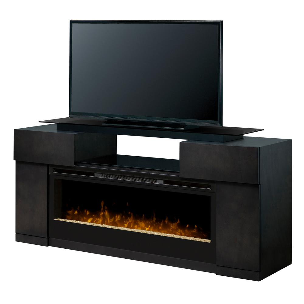 Dimplex Electric Fireplace Tv Stand Media Console Silver Charcoal Finish
