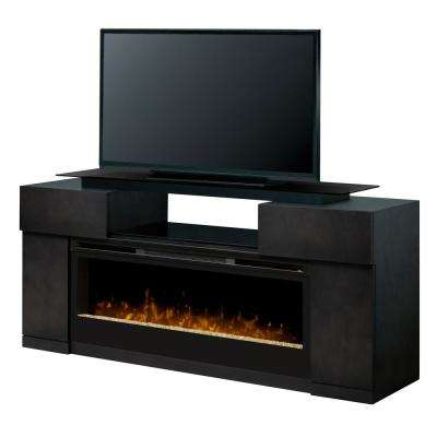 Concord 73 in. Electric Fireplace TV Stand Media Console in Silver Charcoal Finish