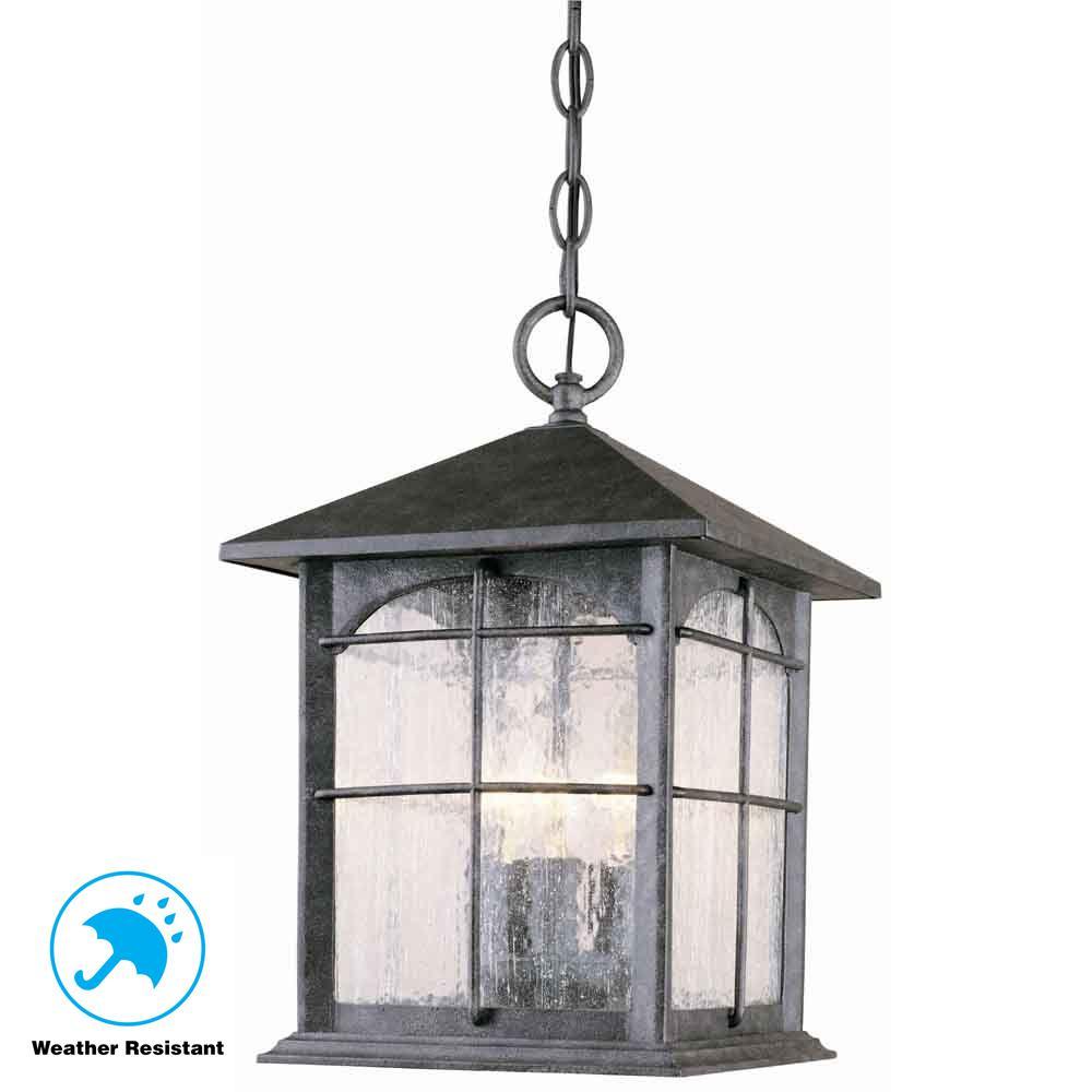 Hanging Mount Aged Iron 3-Light Outdoor Lantern