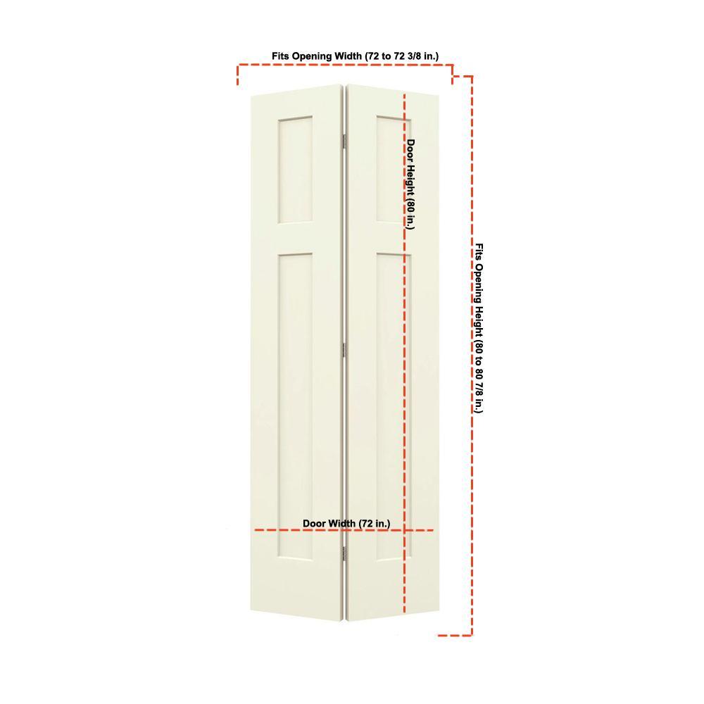 36 in. x 80 in. Craftsman Vanilla Painted Smooth Molded Composite MDF Closet Bi-fold Double Door