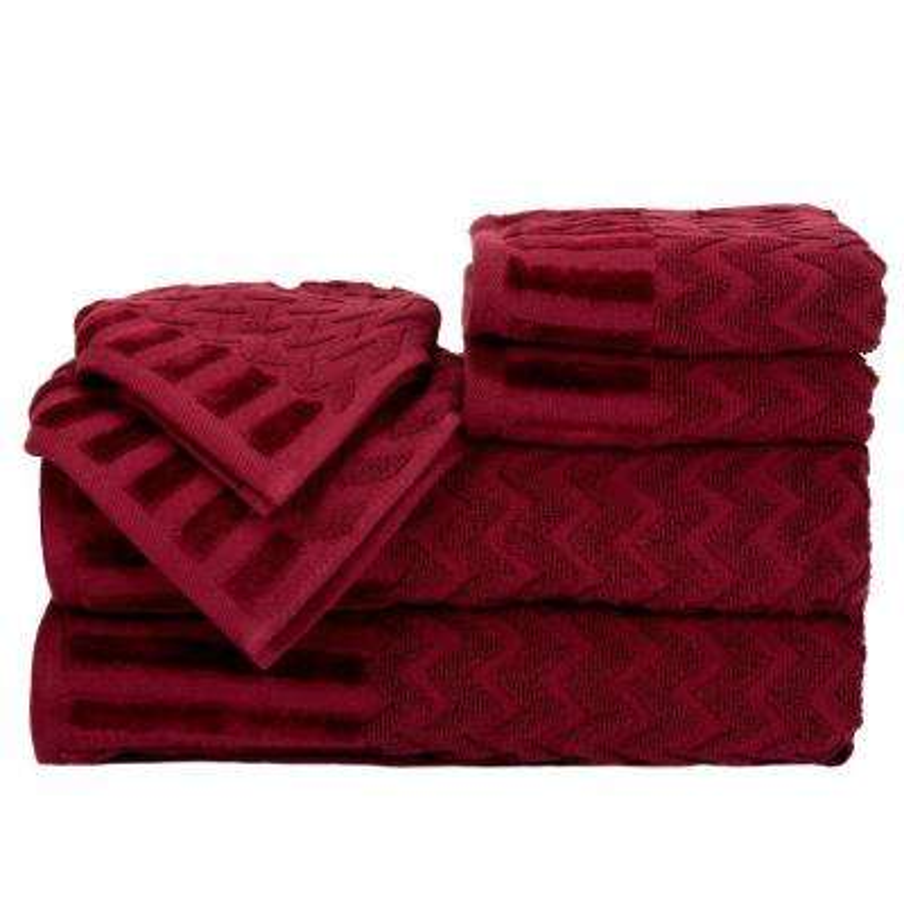 Chevron Egyptian Cotton Towel Set in Burgundy (6-Piece)