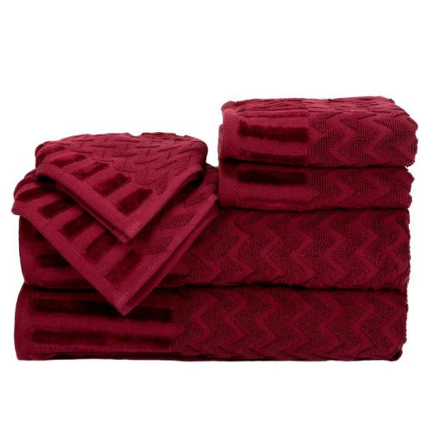 Lavish Home Chevron Egyptian Cotton Towel Set in Burgundy (6-Piece) 67-0020-BU