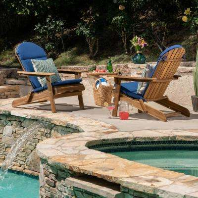 Malibu Natural Brown Folding Wood Adirondack Chairs with Navy Blue Cushions (2-Pack)