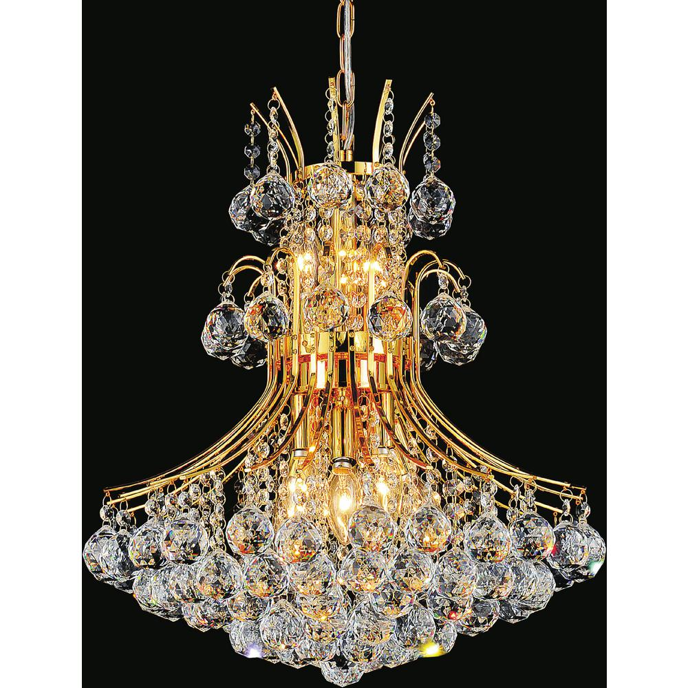 Princess 10 light gold chandelier 8012p24g the home depot princess 10 light gold chandelier arubaitofo Choice Image