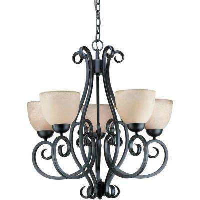5-Light Bordeaux Bronze Chandelier with Tapioca Glass