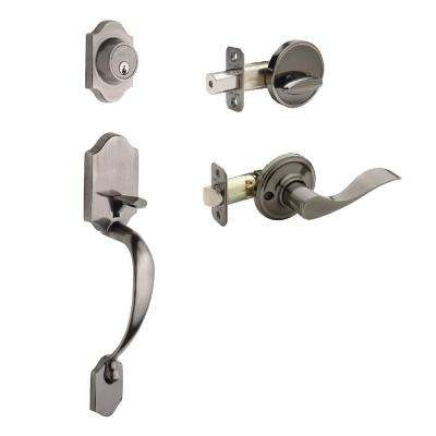 Heritage Antique Nickel Door Handleset and Waverlie Lever Trim