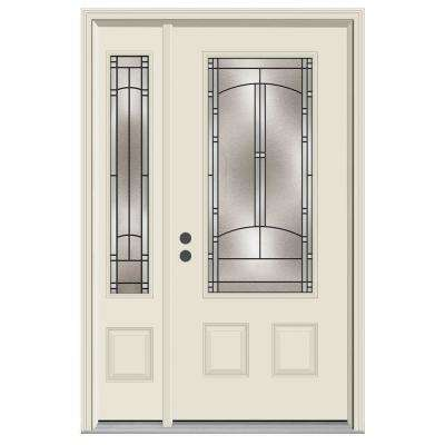 50 in. x 80 in. 3/4 Lite Idlewild Primed Steel Prehung Right-Hand Inswing Front Door with Left-Hand Sidelite